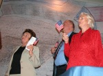 L to R: Gerda Weissman Klein, then-Arizona Schools Chief Tom Horne, and U.S. Supreme Court Associate Justice Sandra Day O'Connor (ret.), at a citizenship swearing-in, Mar. 23, 2009, Phoenix, Ariz.