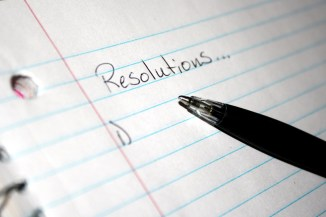 New Year's resolutions pen on paper