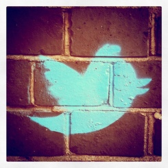 Twitter on wall