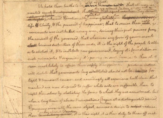 "Jefferson's ""original Rough draught"" of the Declaration of ..."