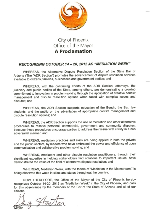 2012 Mediation Week Proclamation