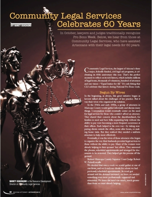 Community Legal Services 60-year anniversary article in Arizona Attorney Magazine
