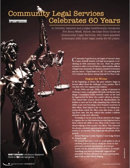 Community Legal Services 60-year anniversary article in Arizona Attorney Magazine