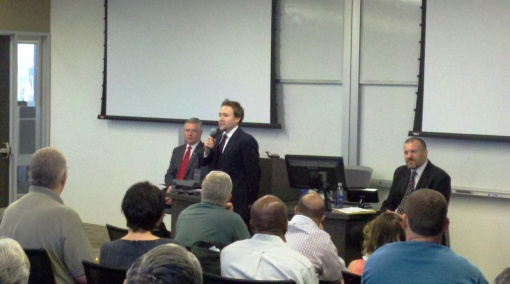 L to R: Candidate Bill Montgomery, Phoenix School of Law Professor Keith Swisher, candidate Michael Kielsky