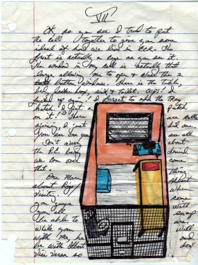 A letter from inmate Herman Wallace to artist Jackie Sumell shows a drawing of his solitary confinement cell.