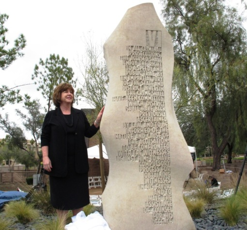 Sixth Amendment monolith unveiled by then-Chief Justice Rebecca White Berch, December 15, 2012.