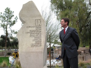 Ninth Amendment monolith unveiled by Phoenix Mayor Greg Stanton