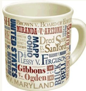 A mug for coffee and case names is just one idea for lawyer gifts.