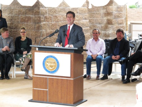 Phoenix Mayor Greg Stanton speaks at Bill of Rights Monument dedication, Dec. 15, 2012