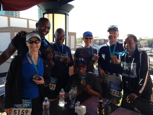 A few of the Bar Flys smile after completing the P.F. Chang's Rock 'n' Roll Marathon, January 2013.