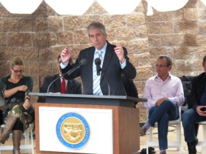 Chris Bliss speaks at the dedication of the nation's first capitol-city Bill of Rights Monument, Dec. 15, 2012