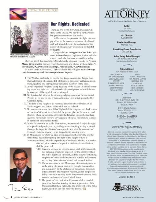 Arizona Attorney Magazine Editor Letter Feb 2013 Bill of Rights