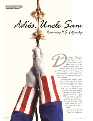 Renouncing Citizenship article, Arizona Attorney Magazine, Dec. 2012