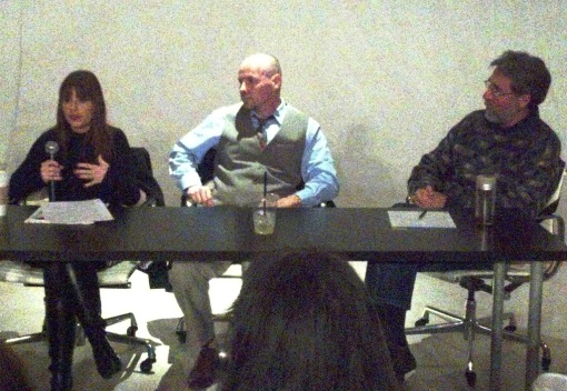L to R: Heather Macre, Marc Campbell and Paul Hirt speak at a water resources panel, Feb. 20, 2013, Monorchid Gallery, Phoenix.
