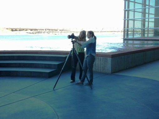 Art Director Karen Holub, left, and photographer Karen Shell collaborate at our creative arts photo shoot.