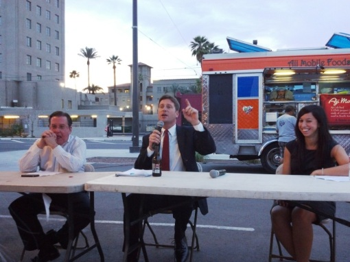 Phoenix Mayor Greg Stanton, center, speaks, alongside fellow panelists Grady Gammage, Jr., and Christina Sandefur. Phoenix, Ariz., March 20, 2013.