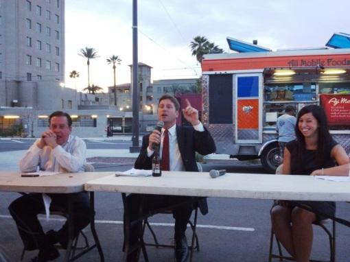 Phoenix Mayor Greg Stanton, center, speaks, alongside fellow panelists Grady Gammage, Jr., and Christina Sandefur. Phoenix, Ariz., March 20, 2013.