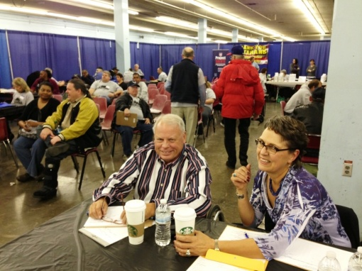 Volunteers Roger Ferland and Kay Nehring at the 2013 Arizona StandDown. (photo: Alberto Rodriguez)