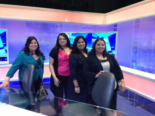 State Bar employees Mirna Lerma, Ayde Gutierrez, Sulema Bucio and Mabel Ramirez at the TV studio for A Su Lado.