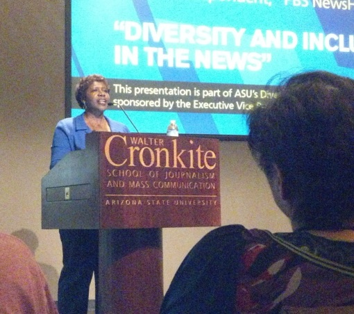 Gwen Ifill speaks at the ASU Cronkite Journalism School, April 1, 2013.
