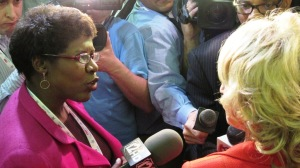 Gwen Ifill interviews Gov. Jan Brewer following the GOP debate, Mesa, Ariz., Feb. 22, 2012