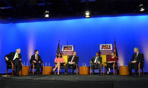 "A panel discussed the immigration proposal created by the ""Gang of Eight"" in the PBS studio Friday. Moderated by former U.S. Senator Jon Kyl, the panel represented a variety of viewpoints. (Cydney McFarland/Downtown Devil)"