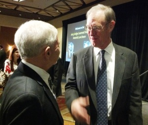 Terry Goddard congratulates Chick Arnold following the 2013 Learned Hand Awards