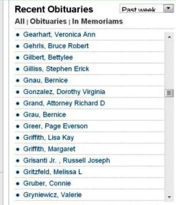 Richard Grand obituary list