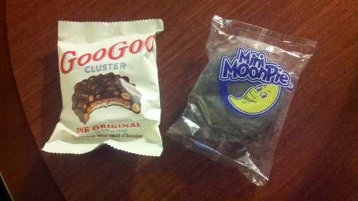 Two great tastes taste good together: Nashville specialties Goo Goo Cluster and Mini Moon Pie.