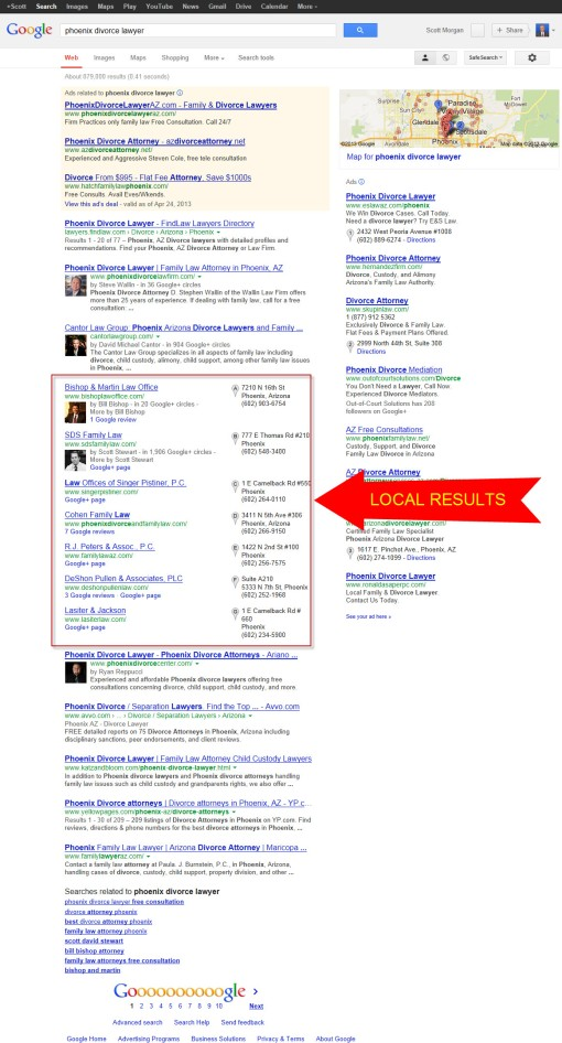 """Google search results for """"Phoenix divorce lawyer."""""""