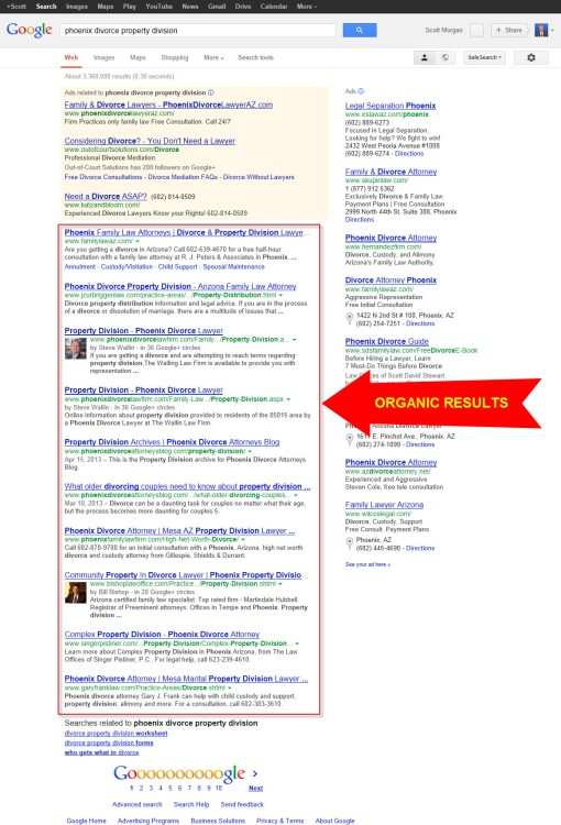 "Google search results for ""Phoenix divorce property division."""