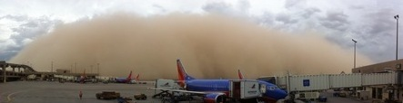 Yes, your flight's delayed. Haboob at Sky Harbor Airport.