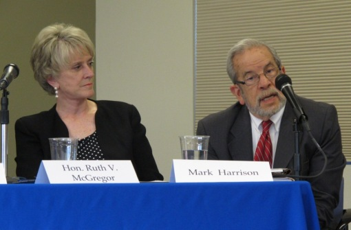 Former Chief Justice Ruth McGregor and attorney Mark Harrison, on a Maricopa County Bar Association panel on merit selection, Sept. 25, 2012.