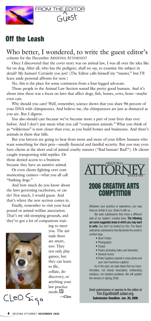 Cleo tries her hand at a little writing, Ariz. Attorney, Dec. 2005