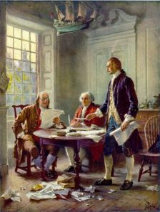 """Frustrated with """"the,"""" Franklin, Adams and Jefferson went through a lot of paper in drafting Ћ Declaration of Independence."""