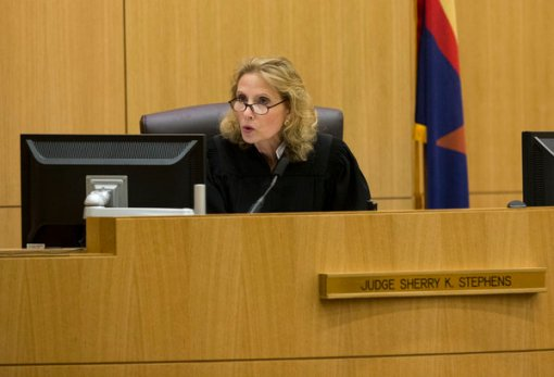 Judge Sherry Stephens presided over the Jodi Arias trial, which involved issues of juror speech and cameras in the courtroom. Here, she urges the jury to continue deliberating after the jury delivered a message that they were deadlocked on a penalty for Arias, May 22, 2013. (AP Photo/The Arizona Republic, Rob Schumacher, Pool)