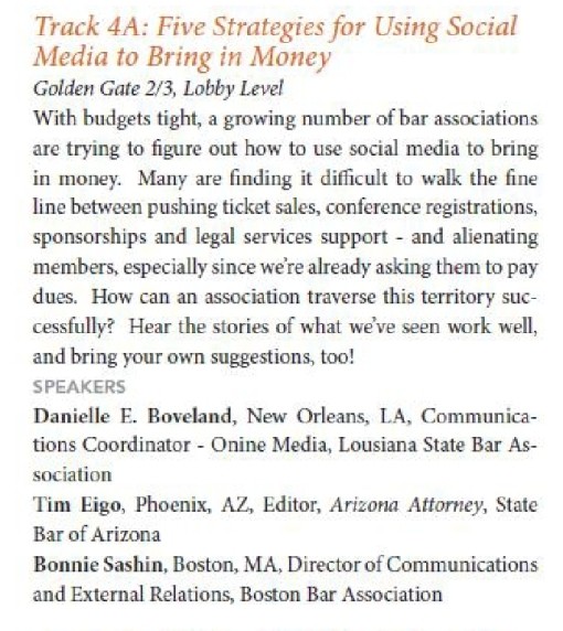 NABE program description on monetizing social media