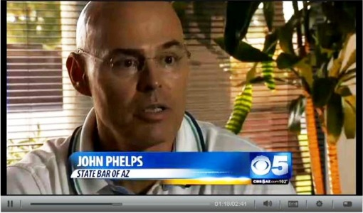 State Bar of Arizona CEO John Phelps, interviewed by CBS5 regarding a free seminar on protecting yourself against workplace violence in the legal profession.