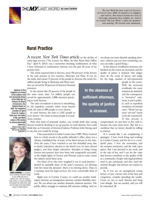 Laura Cardinal writes on rural law practice, Arizona Attorney Magazine