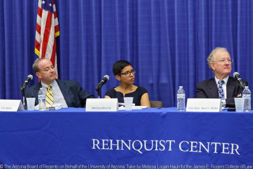 L to R: Clint Bolick, Goldwater Institute;  Professor Melissa Murray, UC-Berkeley School of Law; and Judge Neil V. Wake, U.S. District Court in Phoenix.