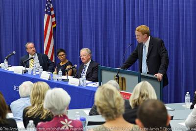 Professor David Marcus, right, and the Constitution Day panel.