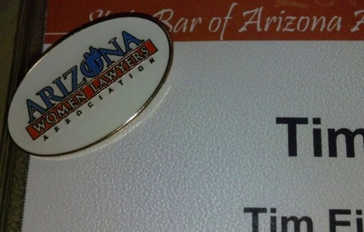 Arizona Women Lawyers Association logo pin
