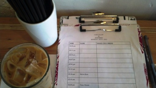 Cafe O'Law signup sheet (coffee not included with consultation!).