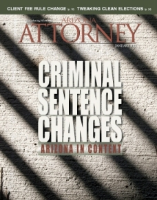Arizona Attorney Magazine January 2012 cover criminal sentencing