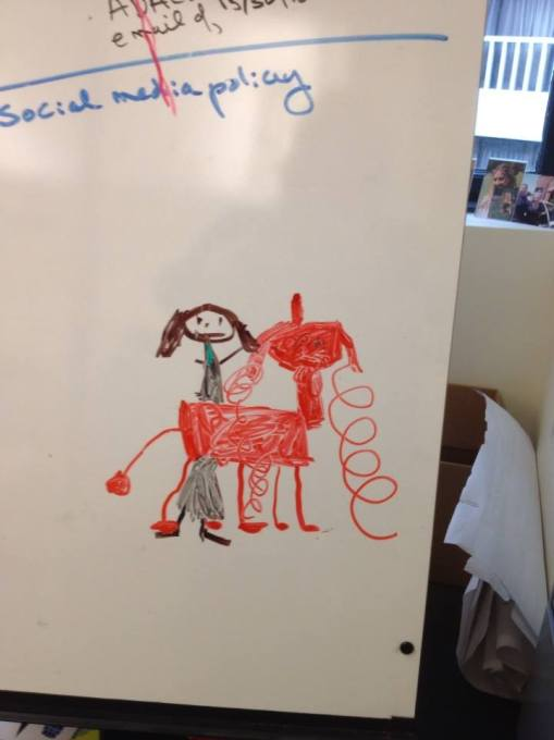 "Yes, that is  a unicorn, courtesy of ""Unicorn Hour"" in Ann Murphy's office, where Audrey Ribera went all painterly on her whiteboard."