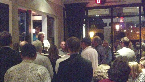 Pat Gerrich speaks oh-so-briefly at a Morris Institute event in her honor, Nov. 14, 2013, The Vig, Phoenix.