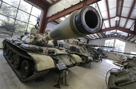 A Main Battle Tank from Russia displayed with other tanks at the Military Vehicle Technology Foundation in Portola Valley, Calif., Nov. 6, 2013.