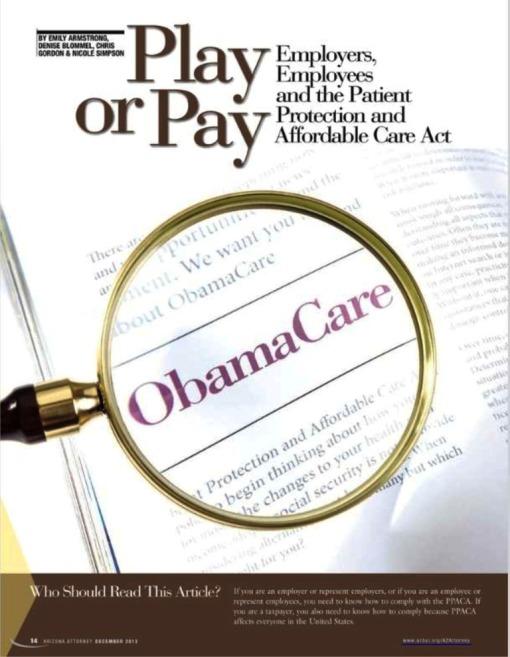 Obamacare article in AzAt Dec 2013