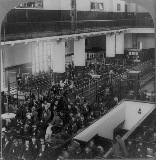 inspection line at Ellis Island