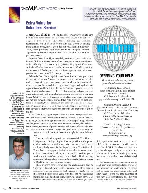 My Last Word Gary Restaino Arizona Attorney Magazine January 2014